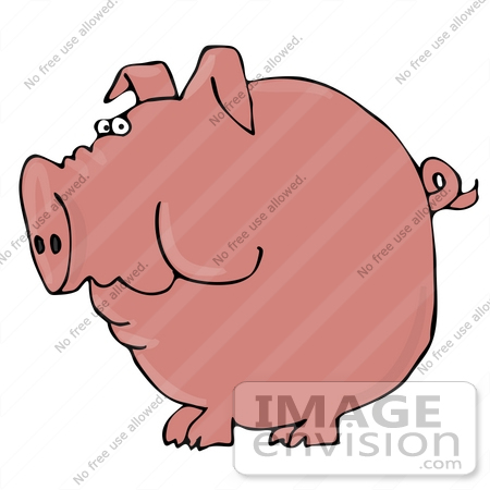 #29858 Clip Art Graphic of a Pink Pig With A Curled Tail by DJArt