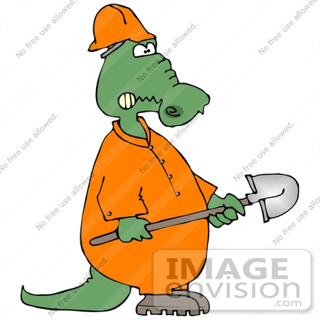 #29862 Clip Art Graphic of a Grumpy Alligator Construction Worker Carrying A Shovel by DJArt