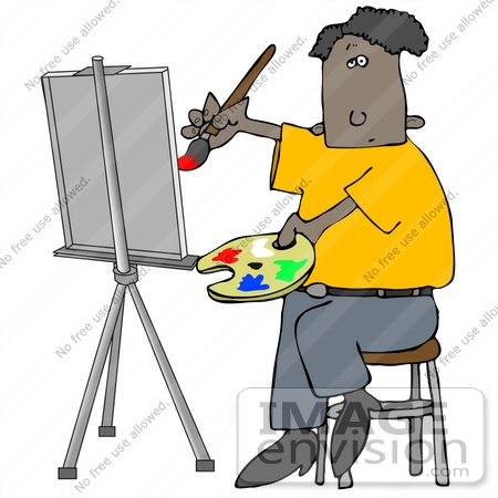#29873 Clip Art Graphic of an African American Man Painting a Portrait on an Easel by DJArt