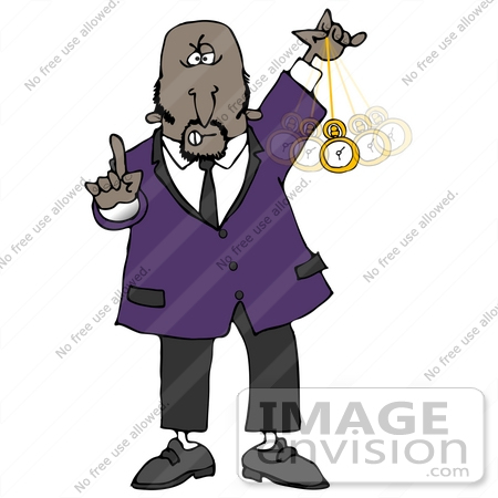 #29875 Clip Art Graphic of an African American Hypnotist Man Holding A Finger Up And Swinging A Pocket Watch Back And Forth While Hypnotizing And Putting The Viewer Into A Trance by DJArt
