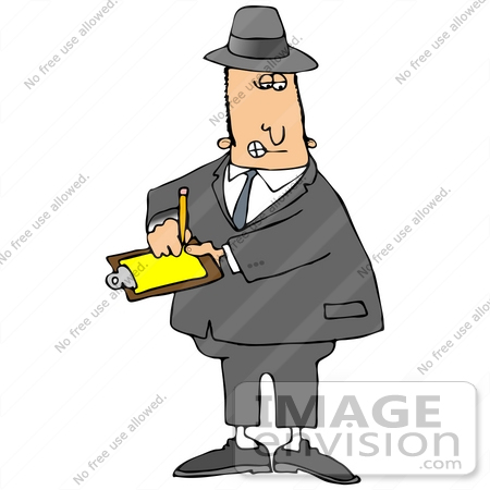 #29877 Clip Art Graphic of a Caucasian Inspector Writing Notes on a Clipboard by DJArt