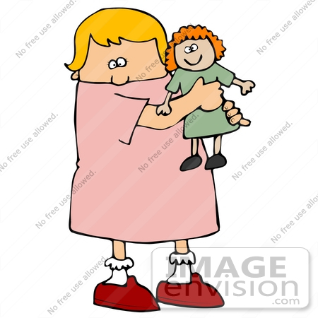 #29886 Clip Art Graphic of a Cute Caucasian Girl Hugging Her Doll by DJArt