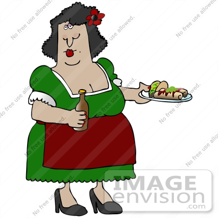 #29887 Clip Art Graphic of a Hispanic Woman Serving Tacos And Burritos In A Mexican Restaurant by DJArt
