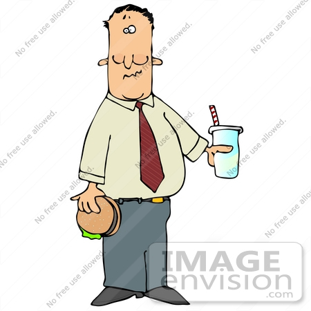 #29889 Clip Art Graphic of a Man Holding a Hamburger and Soda by DJArt