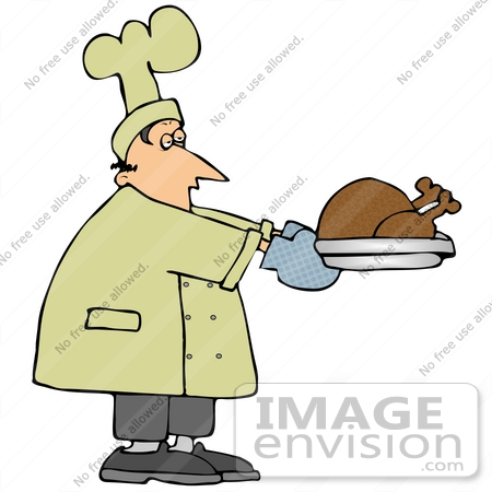 #29892 Clip Art Graphic of a Chef Carrying a Cooked Turkey by DJArt