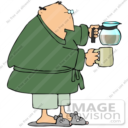#29893 Clip Art Graphic of a Man Holding a Coffee Pot and Mug by DJArt
