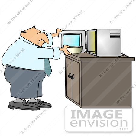 microwave clipart. #29894 clip art graphic of a businessman heating up bowl food in microwave clipart