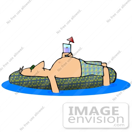 #29899 Clip Art Graphic of a Man Sun Bathing On An Inner Tube In A