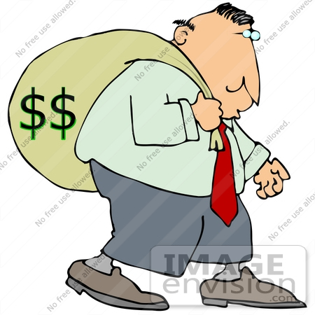 #29906 Clip Art Graphic of a Man Carrying a Heavy Money Bag on His Back by DJArt