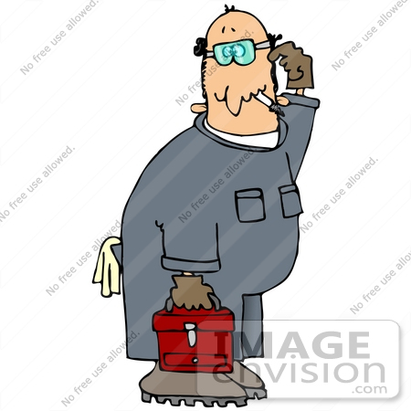 #29914 Clip Art Graphic of a Confused Mechanic Smoking, Carrying A Toolbox And Scratching His Head by DJArt