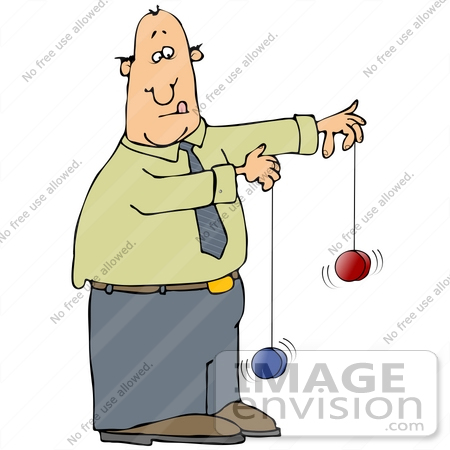 #29916 Clip Art Graphic of a Man Trying To Play With Two Yo Yos At