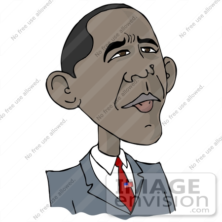 #29919 Clip Art Graphic of Barack Hussein Obama I Wearing A Patriotic American Flag Pin On His Tie And Looking Upwards by DJArt
