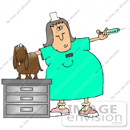 #29920 Clip Art Graphic of a Stressed Out Dog On A Table In An Exam Room, Watching As A Vet Tech Prepares A Needle For A Vaccine by DJArt