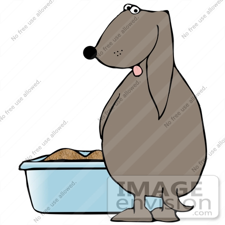 #29921 Clip Art Graphic of a House Trained Dog Peeing Into A Blue Litter Box by DJArt