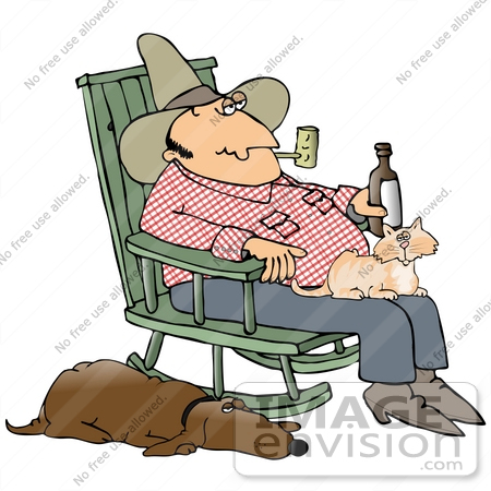 #29928 Clip Art Graphic of a Loyal Hound Dog Sleeping With One Eye Open Beside His Master, A Hillbilly Cowboy, Who Is Drinking Beer And Smoking A Pipe With A Cat In His Lap While Rocking In A Rocking Chair by DJArt