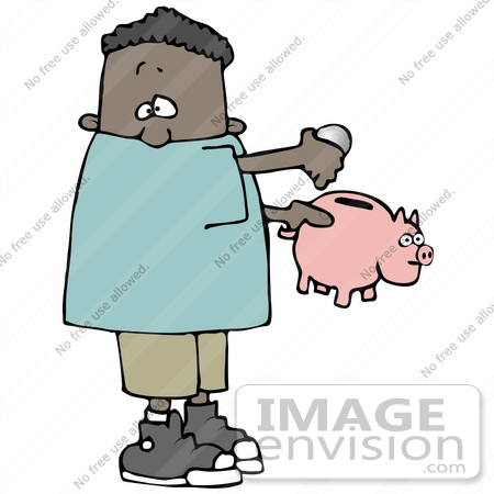 #30191 Clip Art Graphic of a Black Boy Putting Change Into His Piggy Bank by