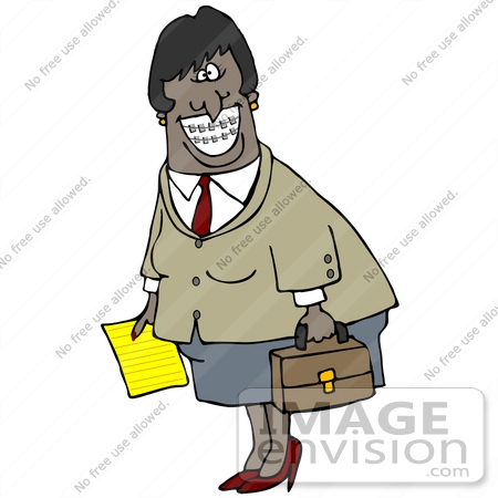#30195 Clip Art Graphic of a Friendly Black Business Woman Carrying A Briefcase And Paper And Showing Her Metal Mouth Braces by DJArt