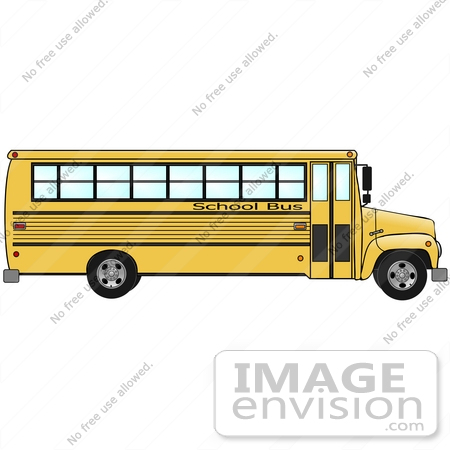 #30199 Clip Art Graphic of a Yellow School Bus in Profile by DJArt