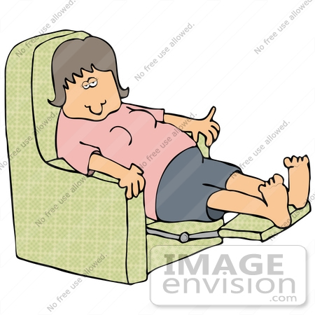 #30208 Clip Art Graphic of an Exhausted White Woman Leaning Back In A Recliner Chair After A Long Day by DJArt