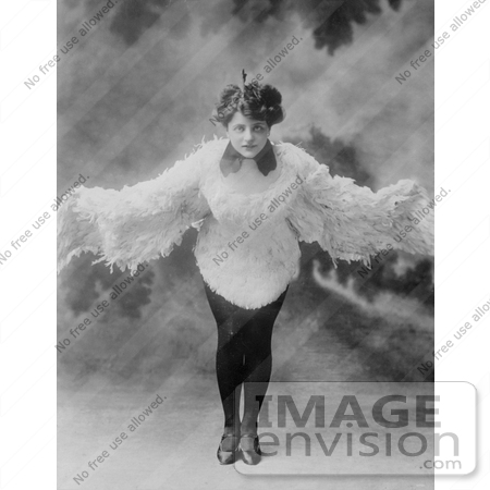 #30214 Stock Photo of a Female Dancer, Mizzi Hajos, Dressed In A Feather Bird Costume And Dancing With Her Wings Spread Open by JVPD