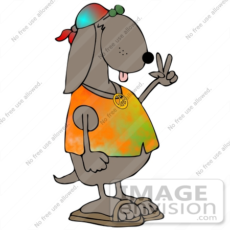 #30368 Clip Art Graphic of a Hippie Dog In A Tie Dye Shirt And Sandals, Flashing The Peace Sign Gesture by DJArt