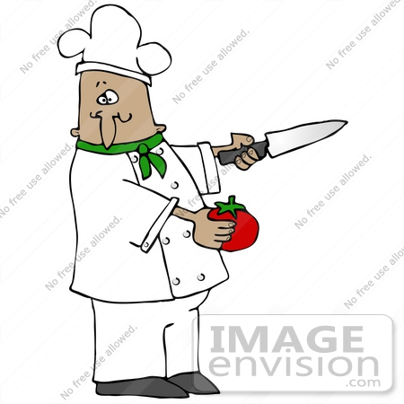 Clip Art Graphic of a Hispanic Or French Male Chef Wearing A ...