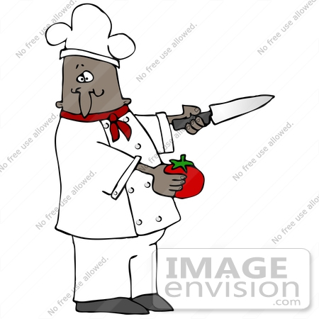 #30573 Clip Art Graphic of an African American Male Chef Wearing A Chef's Hat And Jacket With A Red Collar, Holding A Tomato And A Knife While Preparing Food In A Kitchen by DJArt