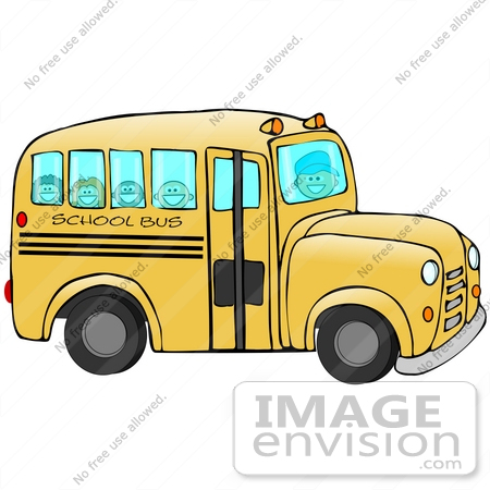 #30579 Clip Art Graphic of Happy School Kids Riding to School on a Yellow Bus by DJArt