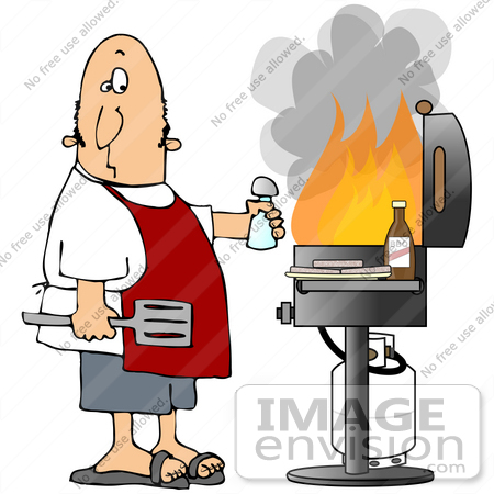 #30583 Clip Art Graphic of a Nervous Caucasian Man Wearing A Red Apron, Holding A Spatula And Salt Shaker, Standing In Front Of Hamburger Patties And Bbq Sauce And A Gas Bbq Grill With Huge Flames by DJArt