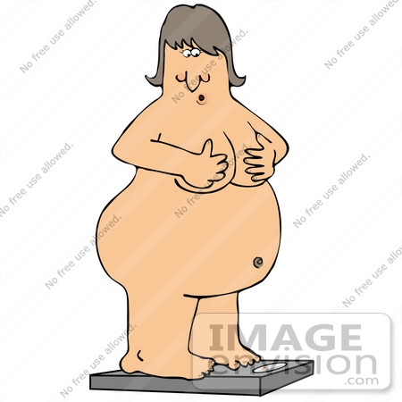 #30631 Clipart Illustration of an Overweight Naked Caucasian Woman Holding Her Chest While Standing On A Scale To Check Her Weight by DJArt