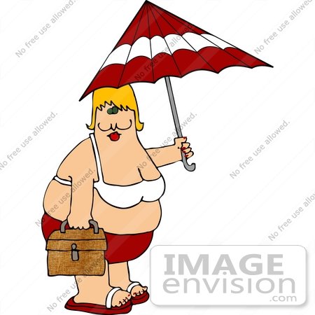 #30635 Clipart Illustration of an Obese Cacuasian Woman In A Red And White