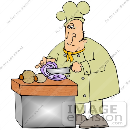 #30655 Clip Art Graphic of a Male Caucasian Chef in a Yellow Chefs Hat and Jacket Shedding a Tear While Cutting Onions by DJArt