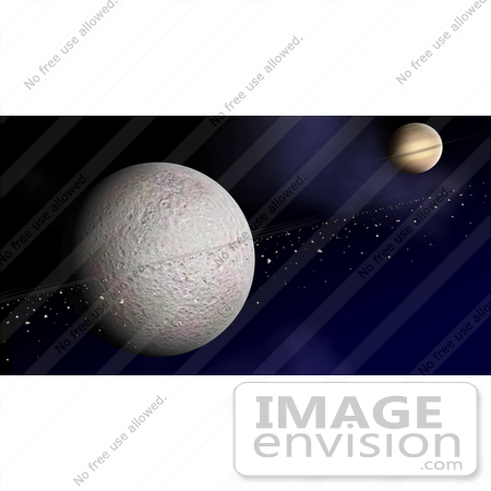 #30670 Stock Photo Of A Ring Of Debris Orbiting Saturn's Second-Largest Moon, Rhea by JVPD