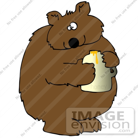 #30676 Clip Art Graphic of a Cute Chubby Bear Holding a Jar of Honey by