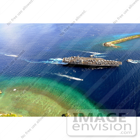 #30729 Stock Photo of an Aircraft Carrier In Agana Harbor On Guam by JVPD