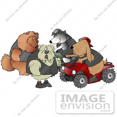 clip art graphic of a group of biker dogs a chow chow bulldog border collie and bloodhound. Black Bedroom Furniture Sets. Home Design Ideas
