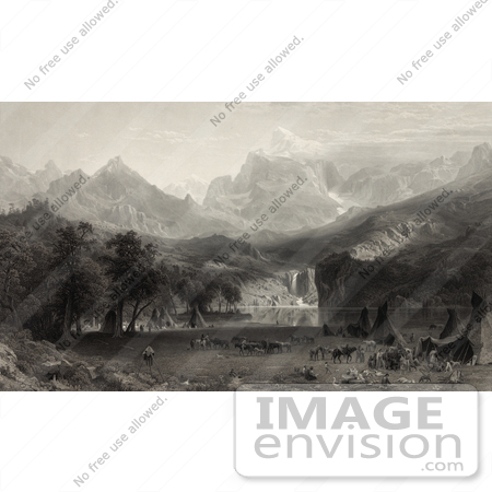#30754 Stock Illustration of a Native American Encampment With Tipis And Horses On A Lake Shore In Yosemite Valley Of The Rocky Mountains by JVPD