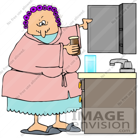#30768 Clip Art Graphic of a Grouchy Old Caucasian Lady Wearing A Pink Robe Over Blue Pjs And Purple Curlers In Her Hair, Taking Medicine Out From A Bathroom Cabinet by DJArt