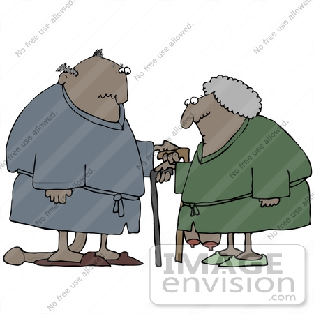 #30776 Clip Art Graphic of a Black Senior Couple Dressed In Robes And Slippers, Using Canes, Standing With Their Privates Sagging To The Floor by DJArt