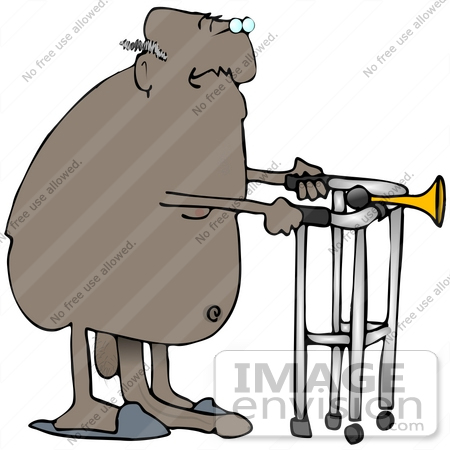 #30777 Clip Art Graphic of a Nude Old Black Senior Man Wearing Blue Slippers, Using A Walker, His Penis Drooping Down To The Floor by DJArt