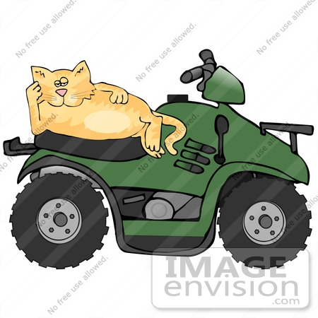 #30794 Clip Art Graphic of a Lazy Orange Cat Relaxing on the Seat of a