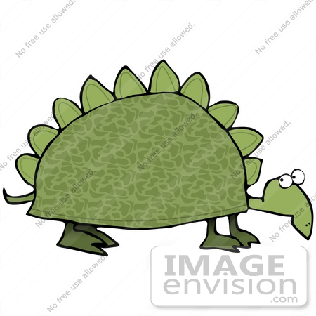 #30815 Clip Art Graphic of a Slow Old Green Dinosaur Turtle With Spikes On His Shell by DJArt