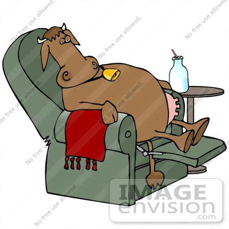 #30822 Clip Art Graphic of a Tired Brown Cow With Udders, Relaxing After A Long Day Of Work, Sitting With Her Feet Up In A Recliner Chair And Drinking A Bottle Of Milk by DJArt