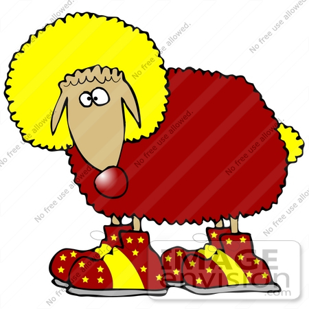 #30877 Clip Art Graphic of a Red and Yellow Animal Sheep Clown With Big Shoes and Colorful Wool by DJArt