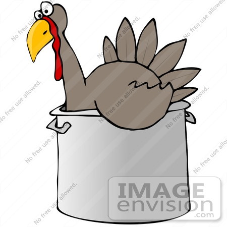 #30878 Clip Art Graphic of a Thankstiving Turkey Bird Chilling Out in a Pot by DJArt