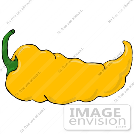 #30953 Clip Art Graphic of a Spicy Hot Yellow Chilie Pepper With a Green Stem by DJArt