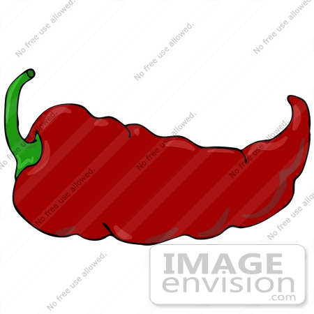 #30955 Clip Art Graphic of a Spicy Hot Red Chilie Pepper With a Green Stem by DJArt