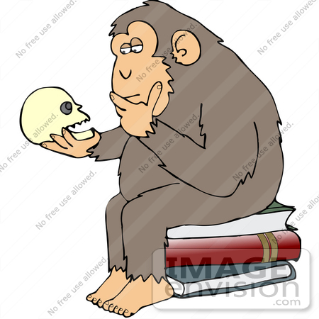"#30958 Clip Art Graphic of a Cartoon Parody of Rheinhold's ""Philosophizing Monkey"" Showing a Chimp Holding a Skull and Sitting on Books by DJArt"