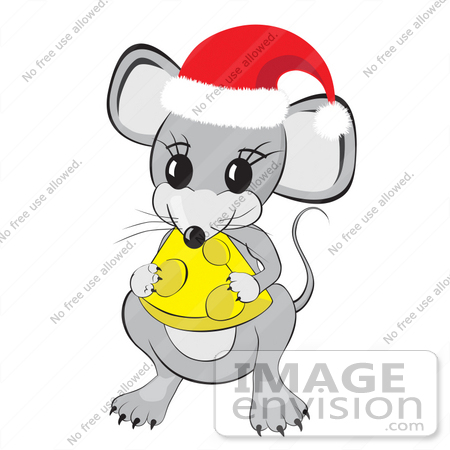 #31793 Clipart Illustration of a Cute Little Gray Mouse Wearing A Red And White Santa Hat And Holding And Nibbling On A Wedge Of Yellow Swiss Cheese by Oleksiy Maksymenko