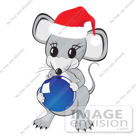 Clipart Illustration of a Cute Little Gray Mouse Wearing A Red And ...
